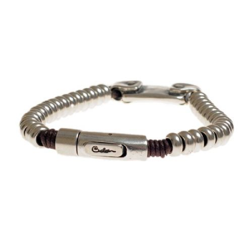 Ciclon Single Leather Bracelet with Silver beads and Bolt Feature